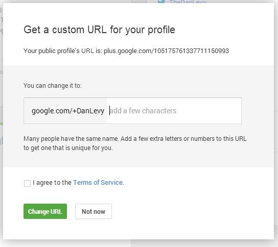 Google Plus Vanity URL Dialog