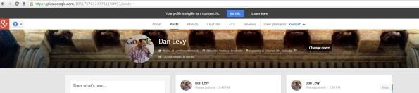 Google Plus Vanity URL  Notification