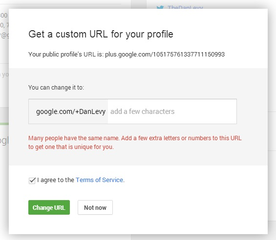Google Plus Vanity URL Dialog Fail