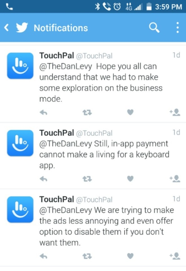 Toucpal Twitter justifying built in ads freemium model IMG_20151120_160019