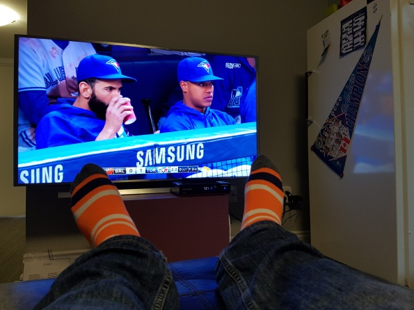 socks Toronto Blue Jays on Rogers Sportsnet 4k Samsung 55 inch 4k TV